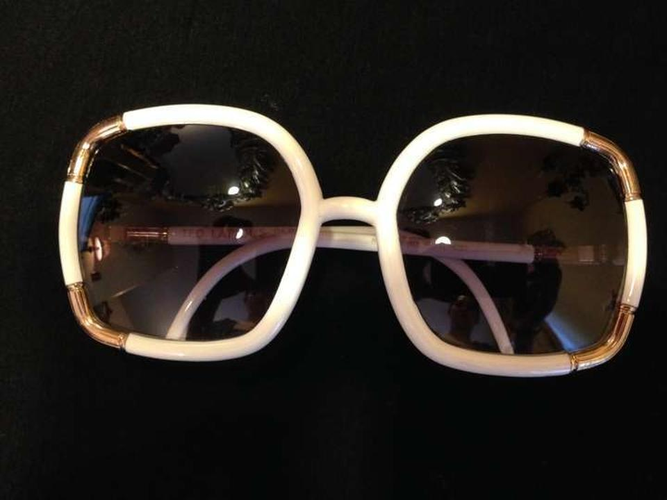 71db458f82 Ted Lapidus White with Gold Accents Vintage (Paris France) Sunglasses