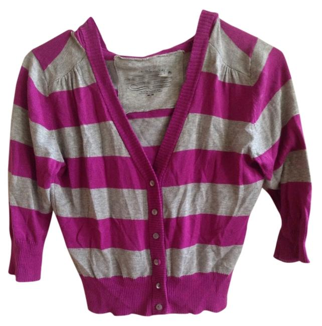 Arizona Jean Company Striped Button Hoodie Casual Knit Quarter Sleeved Cropped Sweater