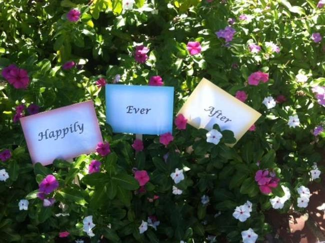 Item - Yellow Teal Coral Happily Ever After Signs