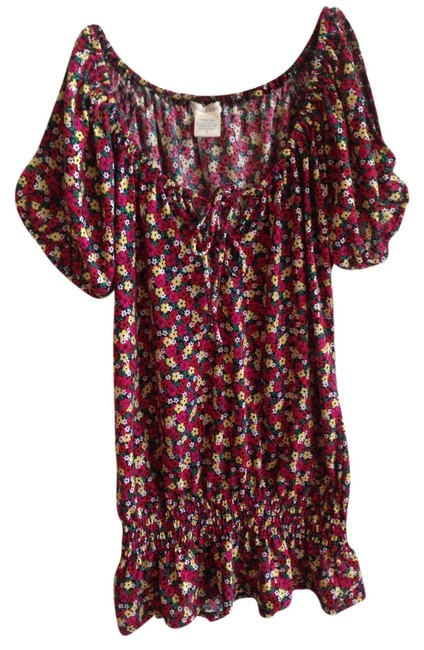 Maurices Cutout Floral Elastic Band Tie Top Print