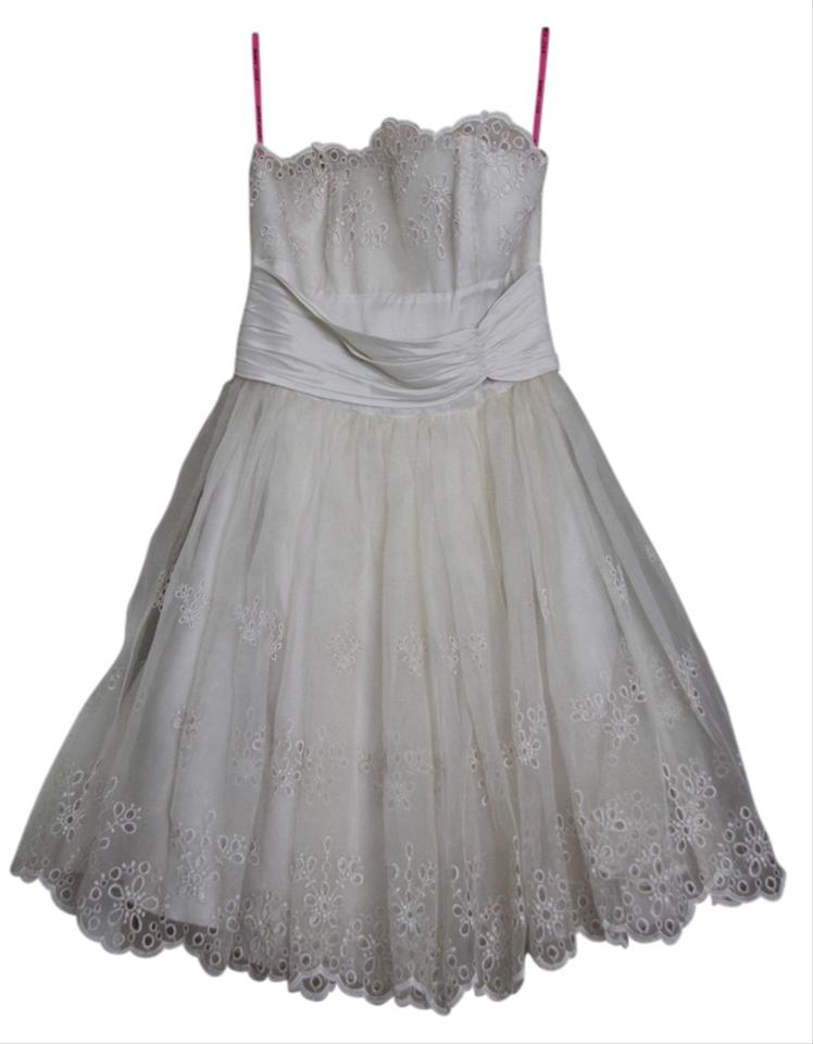 d7a7b4e4139 Betsey Johnson Champagne Eyelet Above Knee Formal Dress Size 2 (XS ...
