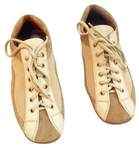 Prada Vintage Suede Leather beige,white Flats