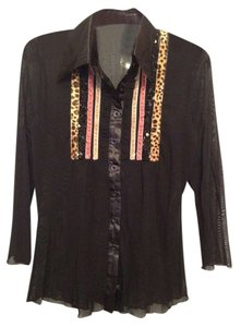 Button Down Shirt Black sheer