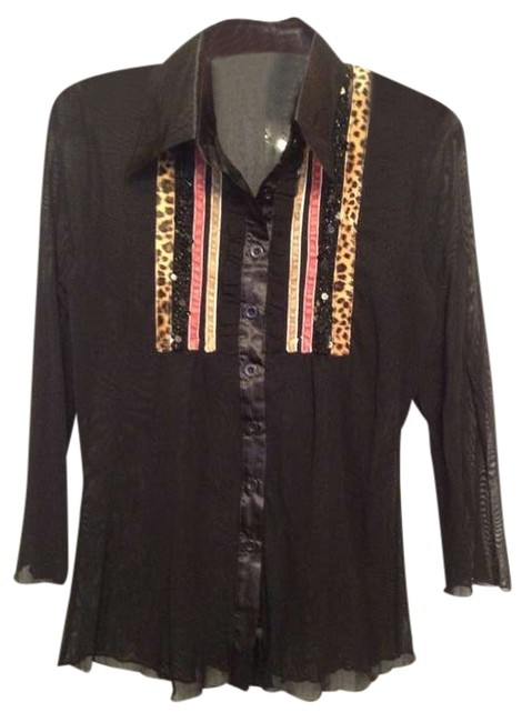 Other Button Down Shirt Black sheer