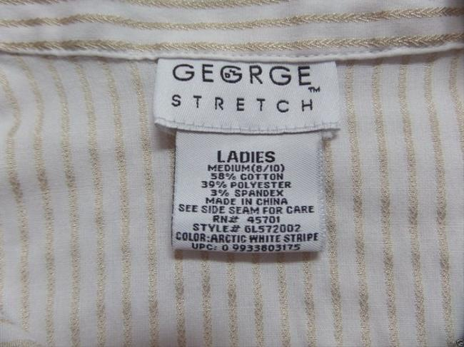 George Longsleeve Button Down Shirt White and Gold Striped