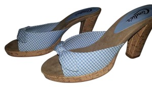 Candie's Vintage Gingham Blue and White Mules