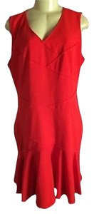 Calvin Klein Ck Red Fire Knee Kength Sheath Sleeveless Dress