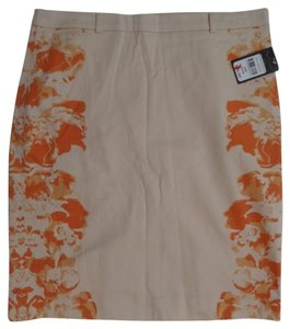 Nue Options Nwt Skirt Peach with Orange Floral Print