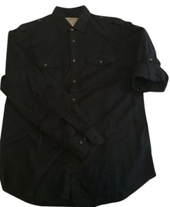 James Campbell Mens Button Down Cover-up Button Down Shirt Black