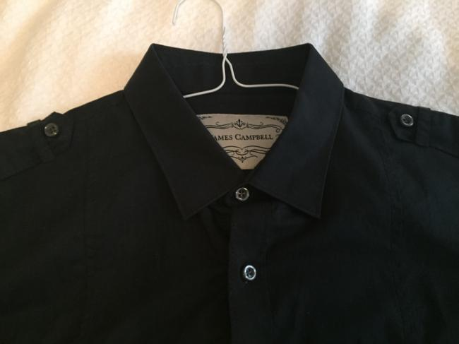 James Campbell Mens Cover-up Cover Up Unisex Button Down Shirt Black