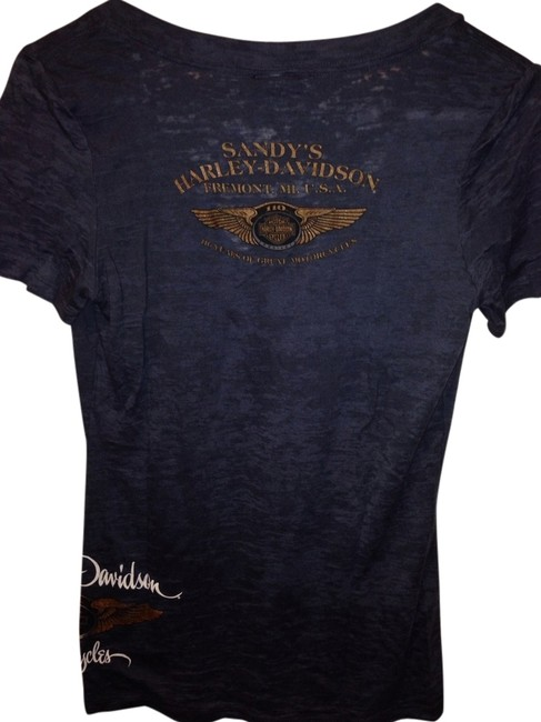 Harley Davidson Sexy Burnout V Neck T Shirt Navy