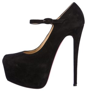 Christian Louboutin Mary Jane Lady Daffodile Lady Daffodile Platform Hidden Platform Stiletto Ankle Strap Black Pumps