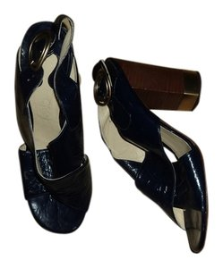 Chloé Chloe Leather Chunky Heels navy Sandals