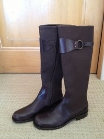 Banana Republic Leather Canvas Tall Brown Boots
