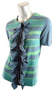 Marni Cashmere Zip Sweater Ruffle Front Top Green