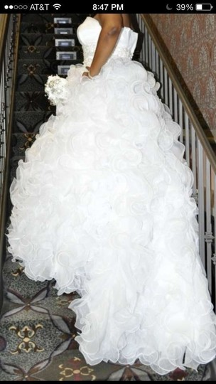 Justin Alexander White Modern Wedding Dress Size 14 (L)