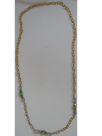 """Other Gold-tone chain link necklace 40"""" long, green-blue glass inserts"""