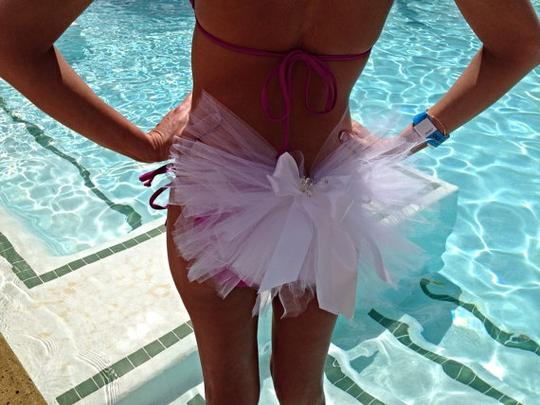 White Bachelorette Party Or Bridal Booty Veil - Clips To Any Bikini Or Skirt