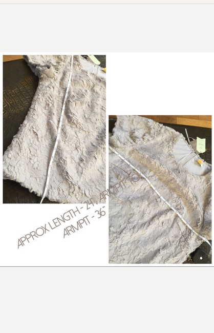 Anthropologie Faux Fur Zipper Anthro Top Grey
