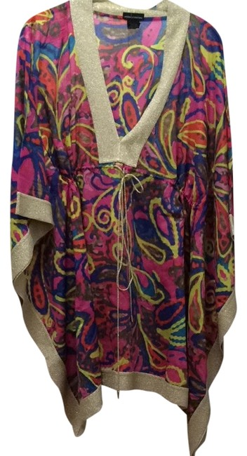 Item - Gold and Multicolor Paisley Cover-up/Sarong Size 8 (M)