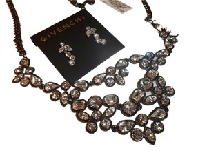 Givenchy Givenchy Hematite Tone Long Crystal Statement Necklace & Earring Set NEW