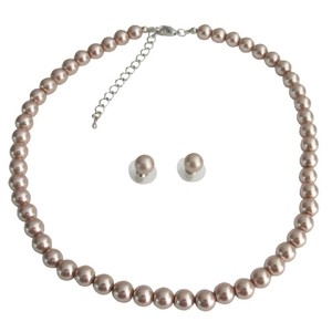 Fashion Jewelry For Everyone Champagne Single Strand Pearl Stud Earrings Bridesmaid Pearls Necklace