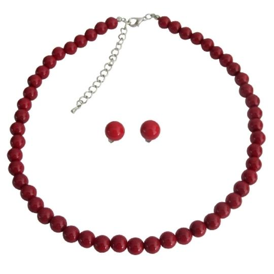 Fashion Jewelry For Everyone Strand Red Pearl Necklace Stud Earrings Bridal Party Jewelry - See More At: