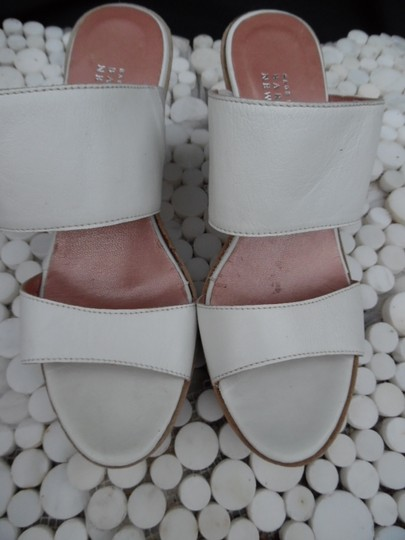 Barneys New York Strappy Double Strap Leather And Suede White Wedges