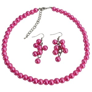 Fashion Jewelry For Everyone Fuchsia Cluster Least Expensive Cluseter Earrings Necklace