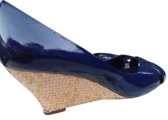 Franco Sarto Patent Leather Rattan Azure Blue Wedges