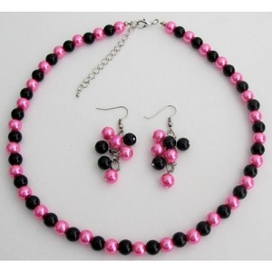 Fashion Jewelry For Everyone Hot Pink / Black Pearl Color Earrings Necklace