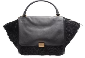 Céline Trapeze Leather Satchel in Black