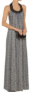 Diane von Furstenberg Silk Maxi Embellished Halter Dress