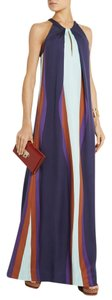 Diane von Furstenberg Silk Color-blocking Maxi Pleated Dress