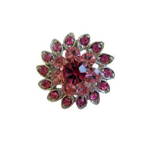 Pink Light Dark Rose Crystal Flower Silver Casting Brooch/Pin