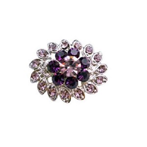 Purple/Amethyst Simulated Light Dark Crystal Flower Dress Brooch/Pin