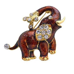 Red Gold Plated Elephant Decorated Cubic Zircon Brooch/Pin