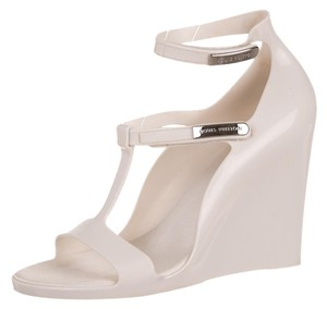 Louis Vuitton Rubber Jelly Strappy Wedge Platform Silver Hardware Logo Monogram 40 New 10 White Sandals