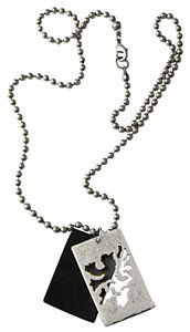 Swank Necklace - Pull-style Ball Chain with Dragon Cutout Metal/Leather Pendant.