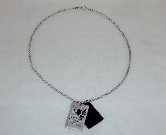 Swank Necklace-Pull-style Ball Chain, Dragon Cutout Metal/Leather Pendant.