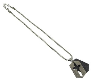 Guess Guess Necklace - Brass and Leather Split Cross Pendant with Pull Cord Chain.