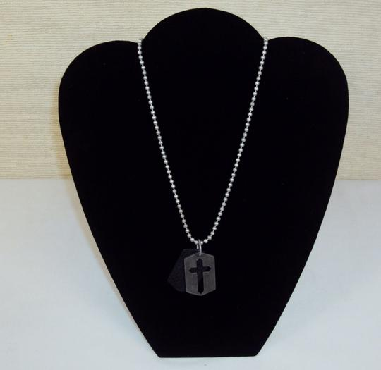 Guess Necklace Brass and Leather Split Cross Pendant with Pull Cord Chain