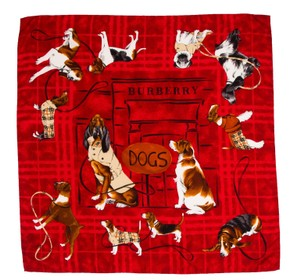 Burberry Red Burberry silk scarf with dog print