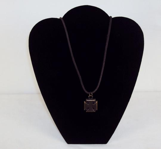 Swank Necklace Leather Cord with Brass Squared Iron Cross Pendant.
