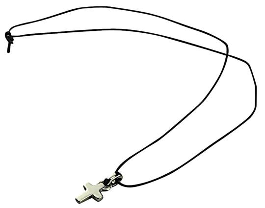 Guess Guess Necklace - Metal Cross On Thin Leather Cord - Tied (No Clasp).