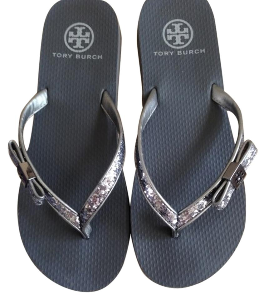 f57e2d1d5 Tory Burch Pewter Glitter Burch Carey Flip Flop Sandals Size US 7 ...