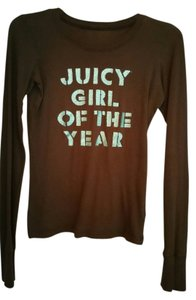Juicy Couture Choco;ate Finished Cuffs G.of The Year T Shirt Brown/Aqua sparkle font