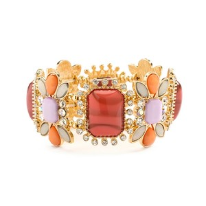 Mariell Gorgeous Crystal Coral & Opaque Pastel Stretch Bracelet 4121b-cormu