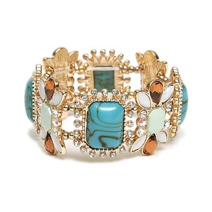 Mariell Turquoise Crystal Tortoise Pastel Stretch 4121b-tqmu Bracelet