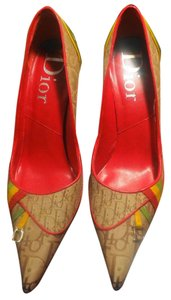 Dior Monogram Silver Hardware Rasta Brown Green Red Yellow Pumps